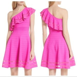 TED BAKER Pink Streena One Shoulder Skater Dress